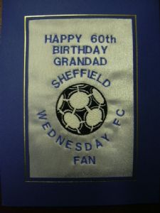 PERSONALISED EMBROIDERED SHEFFIELD WEDNESDAY FC CARD - FOOTBALL